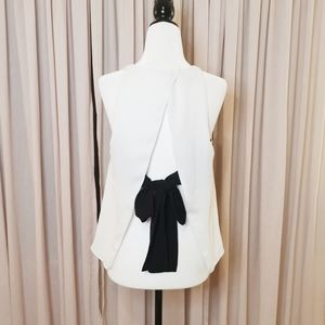 Zara back black bow tie blouse